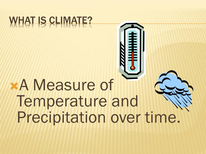 A Measure of Temperature and Precipitation over time.