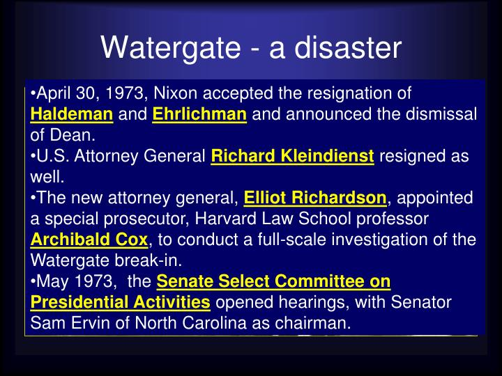Watergate - a disaster