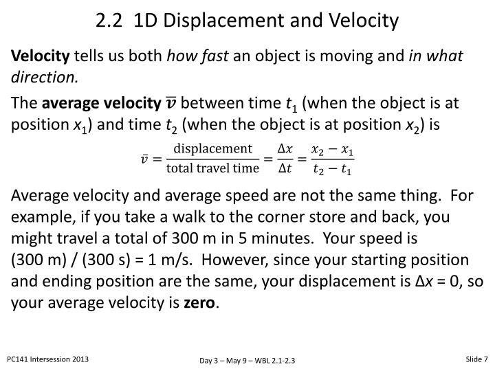 2.2  1D Displacement and Velocity