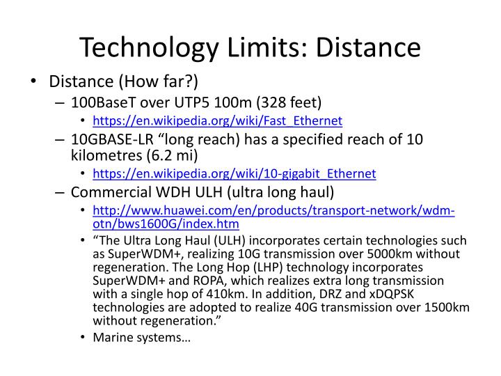 Technology Limits: Distance