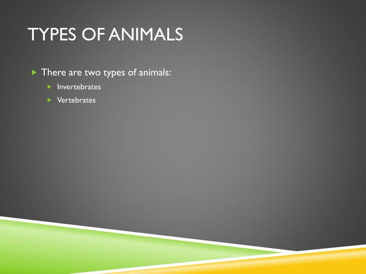 Types of animals1