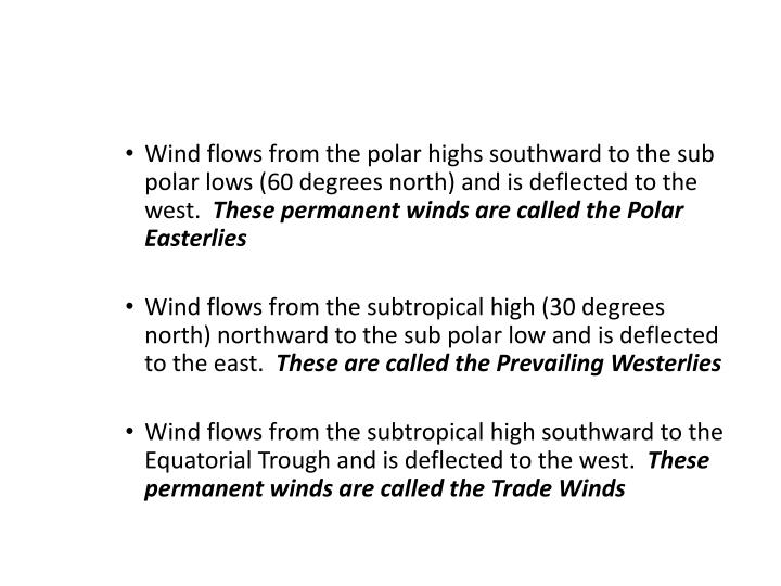 Wind flows from the polar highs southward to the sub polar lows (60 degrees north) and is deflected to the west.