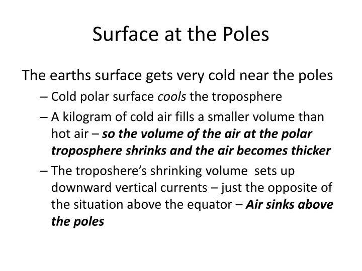 Surface at the Poles