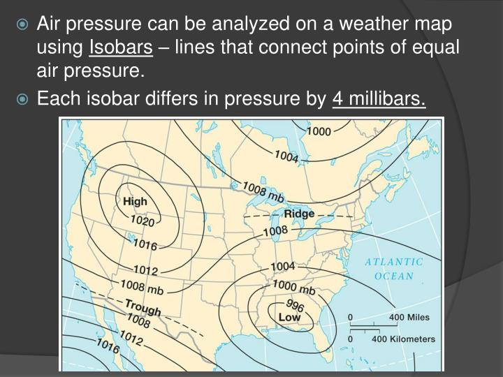 Air pressure can be analyzed on a weather map using
