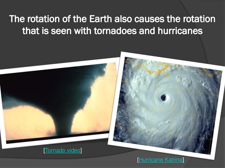 The rotation of the Earth also causes the rotation that is seen with tornadoes and hurricanes