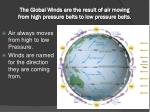 the global winds are the result of air moving from high pressure belts to low pressure belts