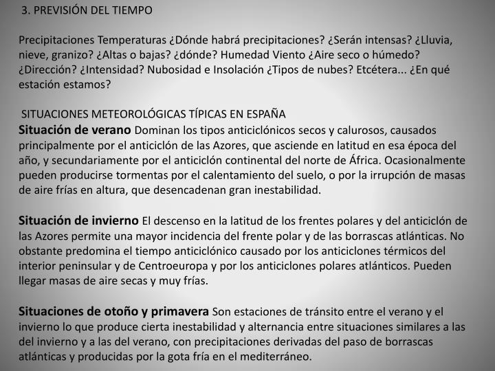 3. PREVISIÓN DEL TIEMPO