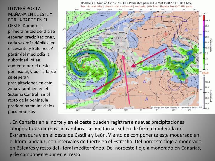 LLOVERÁ POR LA MAÑANA EN EL ESTE Y POR LA TARDE EN EL OESTE. Durante la primera mitad del día se esperan precipitaciones, cada vez más débiles, en el Levante y Baleares. A partir del mediodía la nubosidad irá en aumento por el oeste peninsular, y por la tarde se esperan precipitaciones en esta zona y también en el Sistema Central. En el resto de la península predominarán los cielos poco nubosos