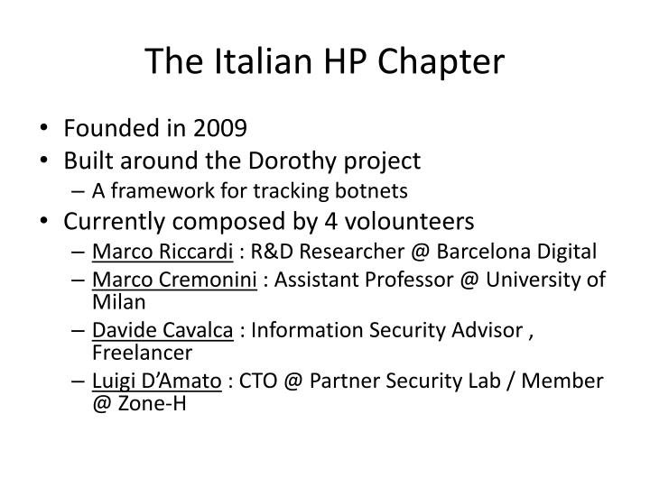 The italian hp chapter