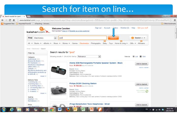 Search for item on line…