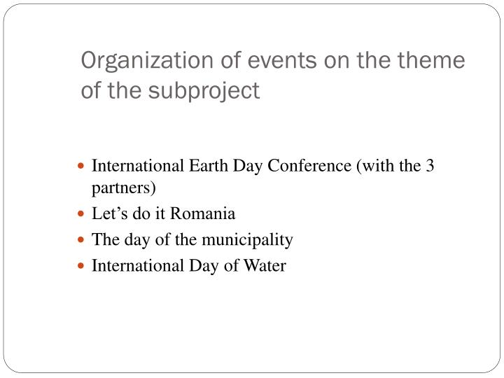Organization of events on the theme of the