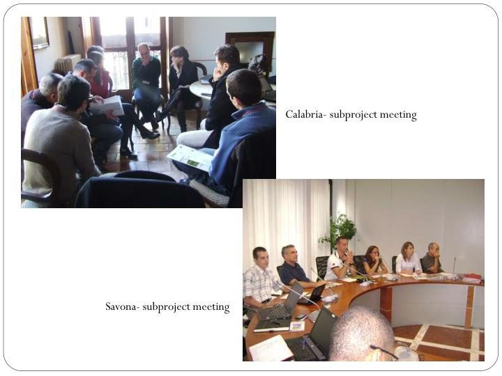 Calabria- subproject meeting