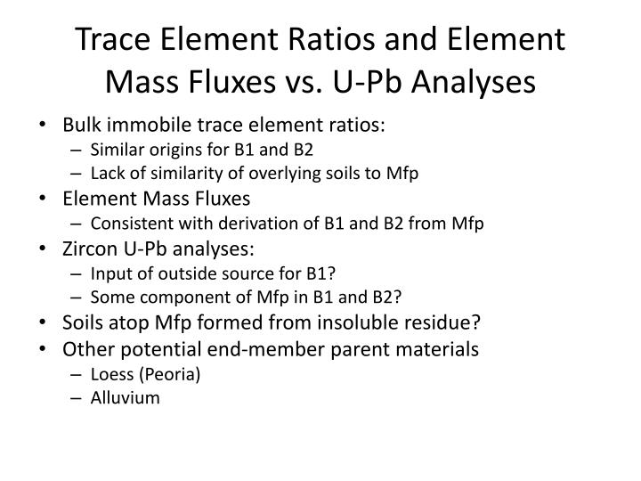 Trace Element Ratios and Element Mass Fluxes vs. U-Pb Analyses