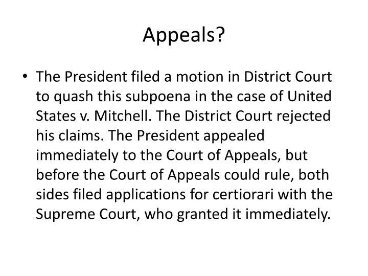 Appeals?