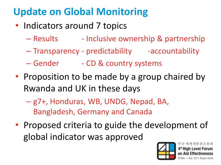 Update on Global Monitoring