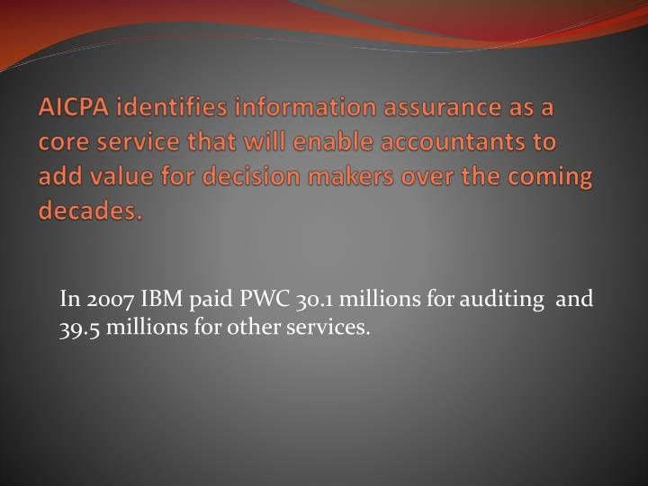In 2007 ibm paid pwc 30 1 millions for auditing and 39 5 millions for other services
