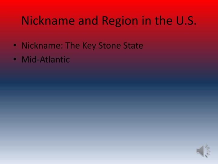 Nickname and region in the u s
