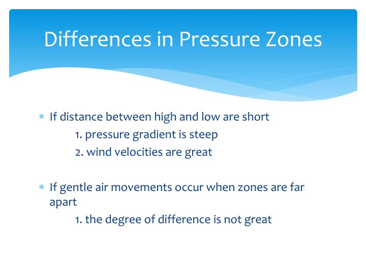 Differences in Pressure Zones