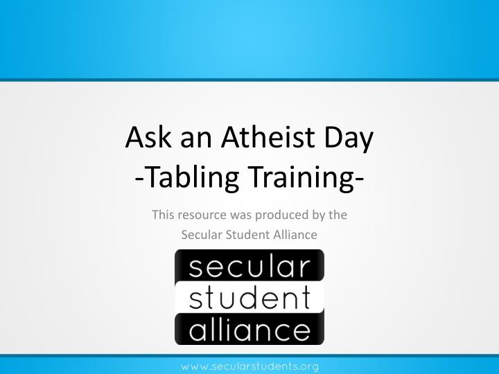 Ask an atheist day tabling training