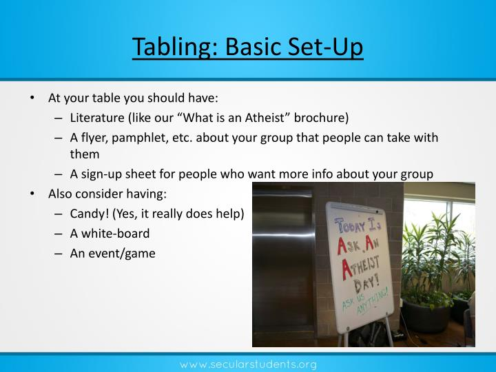 Tabling: Basic Set-Up