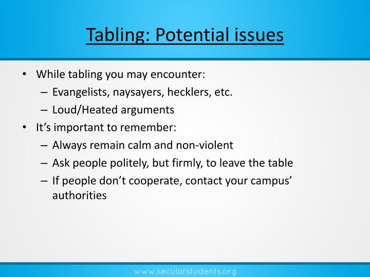 Tabling: Potential issues