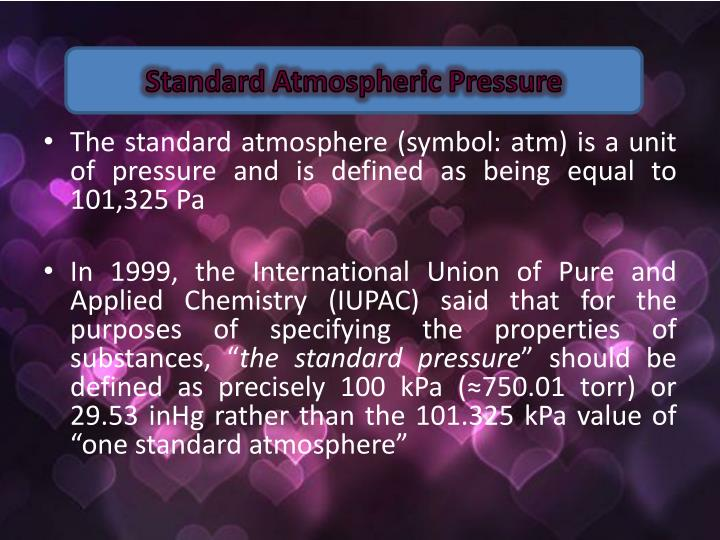 Standard Atmospheric Pressure