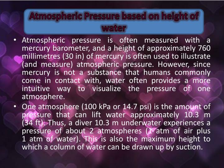 Atmospheric Pressure based on height of water