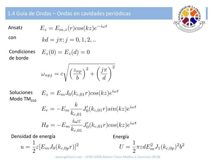 1.4 Guía de Ondas – Ondas en cavidades periódicas