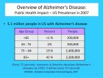 overview of alzheimer s disease public health impact us prevalence in 2007