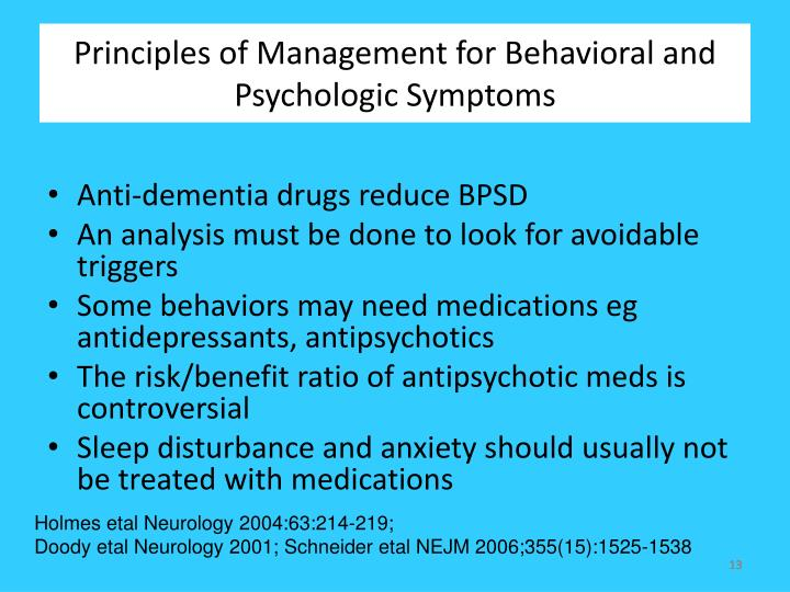 Principles of Management for Behavioral and Psychologic Symptoms