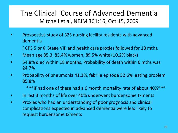 The Clinical  Course of Advanced Dementia