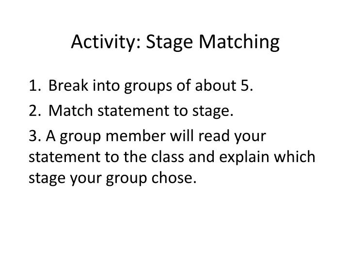 Activity: Stage Matching