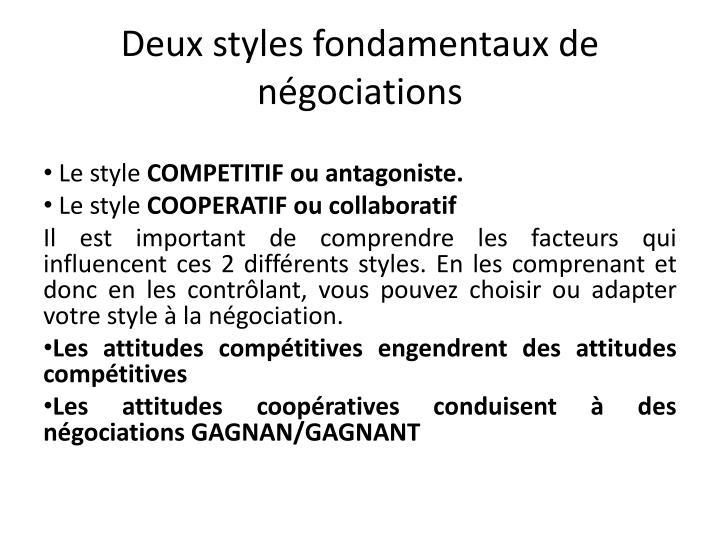 Deux styles fondamentaux de négociations