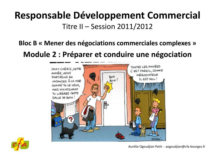 Responsable d veloppement commercial titre ii session 2011 2012
