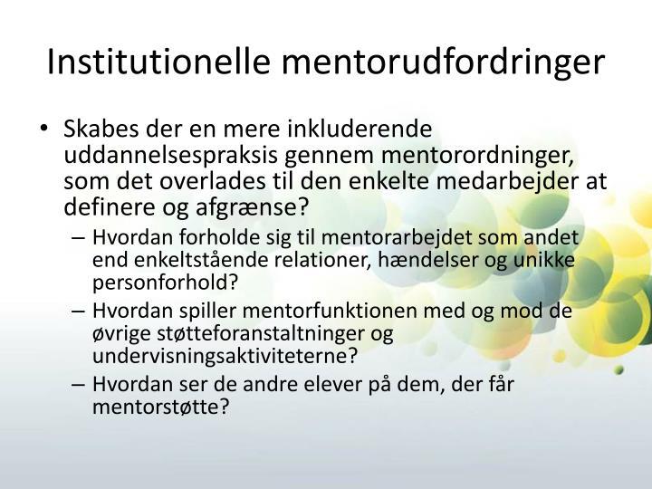 Institutionelle mentorudfordringer