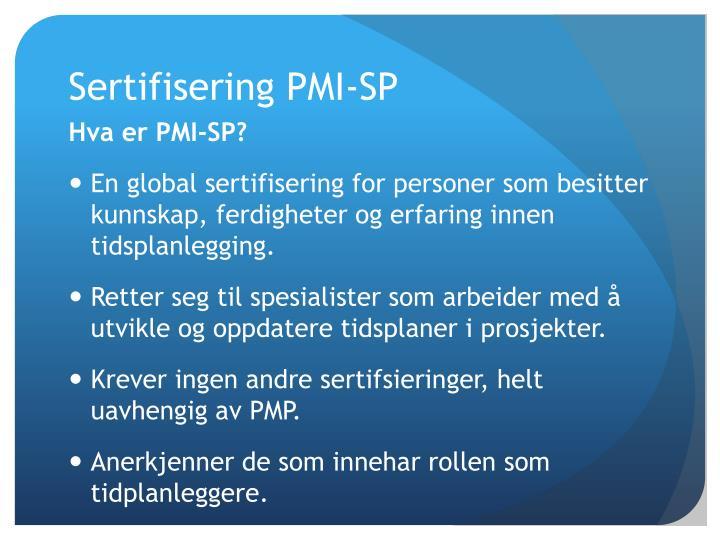 Sertifisering PMI-SP