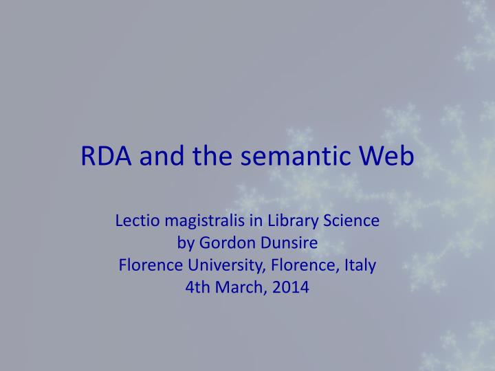 RDA and the semantic Web