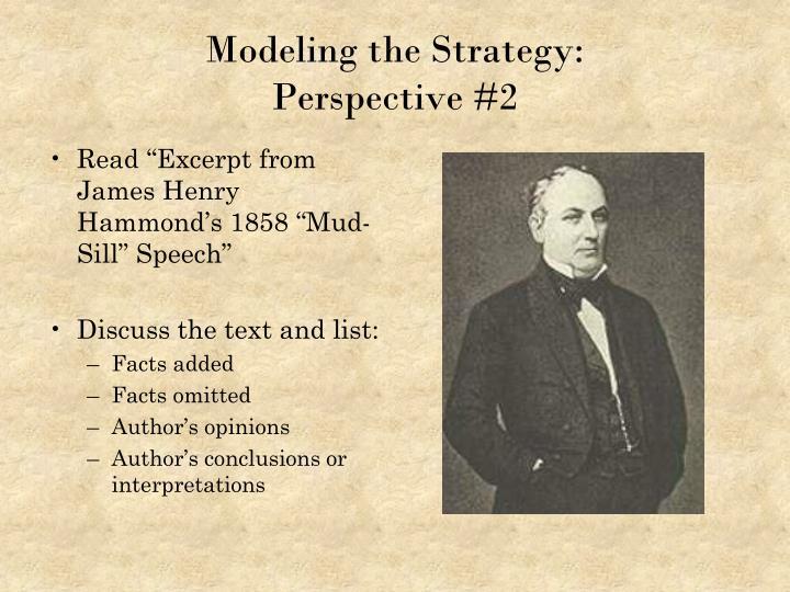"Read ""Excerpt from James Henry Hammond's 1858 ""Mud-Sill"" Speech"""