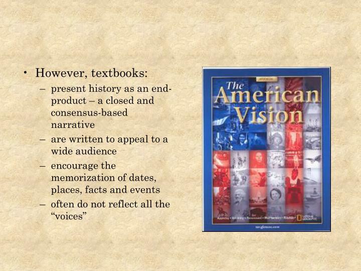 However, textbooks: