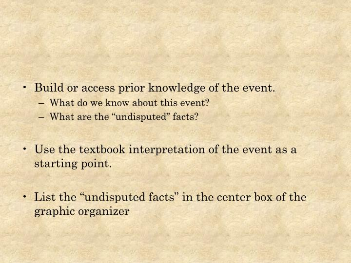 Build or access prior knowledge of the event.