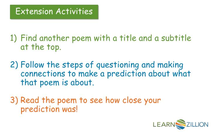 Find another poem with a title and a subtitle at the top.