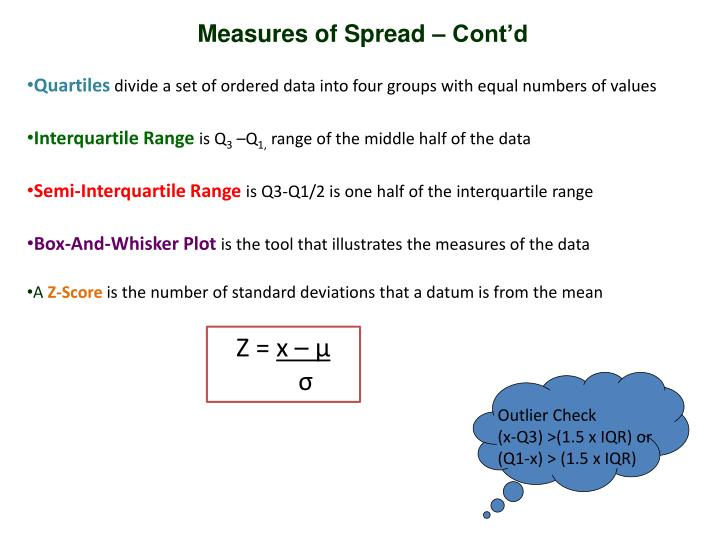Measures of Spread – Cont'd