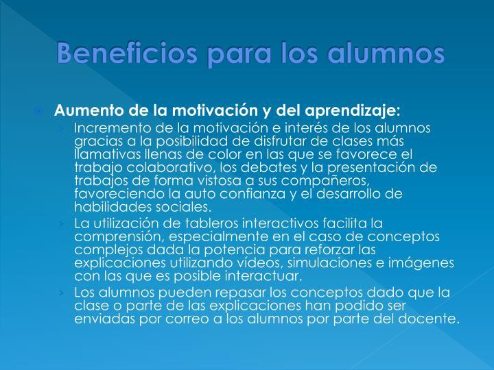 Beneficios para los alumnos