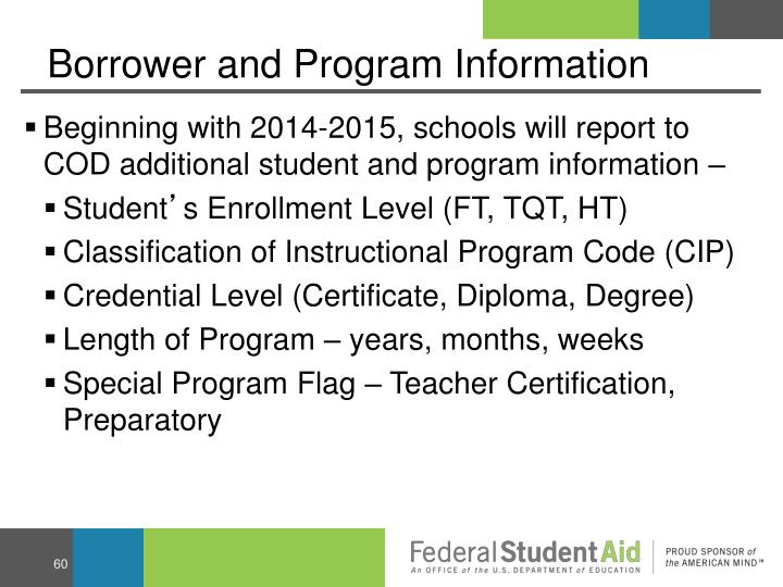 Borrower and Program Information