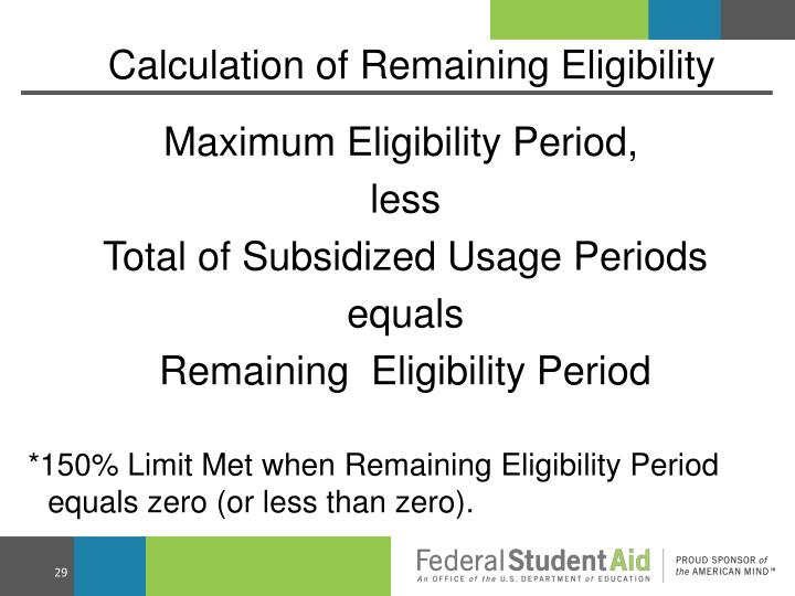 Calculation of Remaining Eligibility