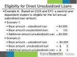 eligibility for direct unsubsidized loans1