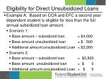 eligibility for direct unsubsidized loans2