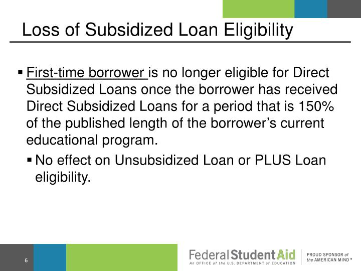 Loss of Subsidized Loan Eligibility