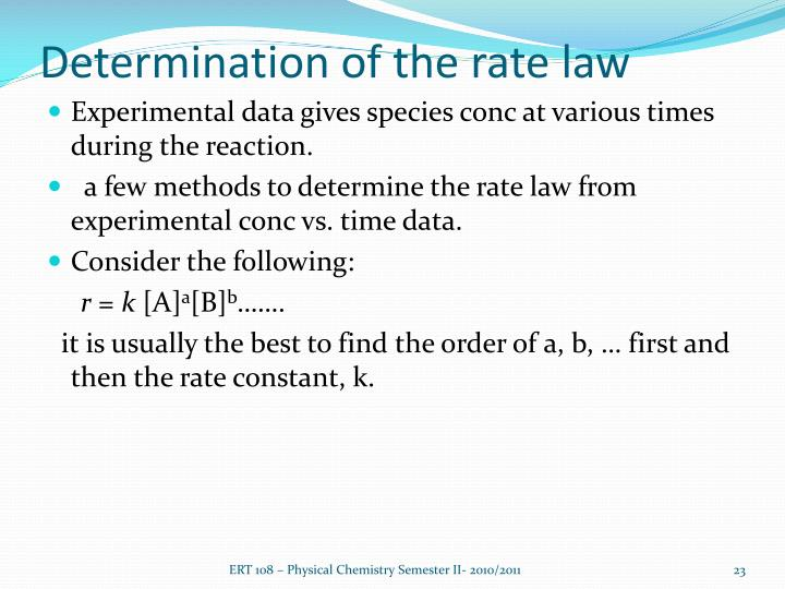 Determination of the rate law