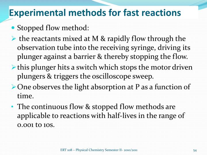 Experimental methods for fast reactions